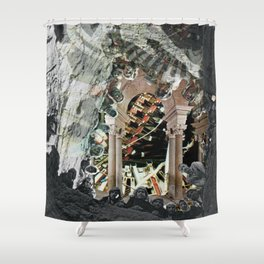 Into the future · Hello Hugo Shower Curtain