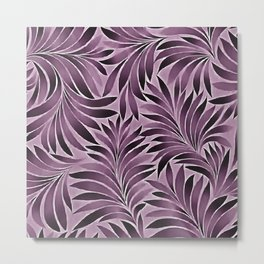 Beautiful Leaves in Aubergine Purple Metal Print
