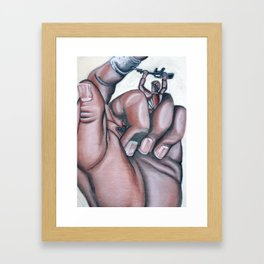 Finger & Hand Study (w/ Army Man) Framed Art Print