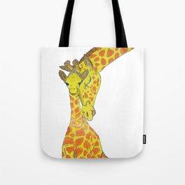 Embossed Mother & Baby Giraffe Tote Bag