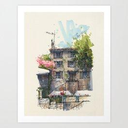 Cours Gambetta, Cotignac Art Print
