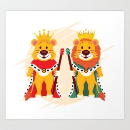 Lion And Queen Art Print