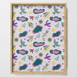 Spring colorful abstract birds with clouds flowers and texture Serving Tray