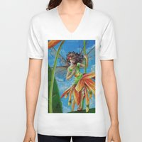 marianna V-neck T-shirts featuring Marianna - Heliconia Haute Couture by Lauralin Maynard