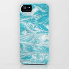 Marbled paper, Turquoise iPhone Case