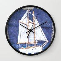 sailboat Wall Clocks featuring Sailboat by Michael P. Moriarty