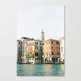 Travel photography | Architecture of Venice | Pastel colored buildings and the canals | Italy Canvas Print