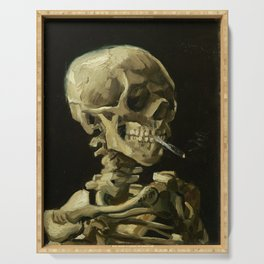 Skull of a Skeleton with Burning Cigarette by Vincent van Gogh Serving Tray