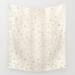 Celestial Pearl Moon & Stars Wall Tapestry