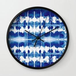 Shibori Tie Dye Indigo Blue Wall Clock