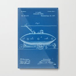 1897 Submarine Patent - Blueprint Style Metal Print