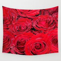 bed Wall Tapestries featuring Bed of roses by UtArt