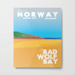Doctor Who Bad Wolf Bay Travel Poster Metal Print