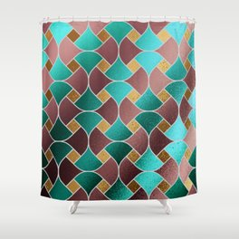 Gold teal rose gold geometric abstract pattern Shower Curtain