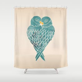 Love Birds (Blue) Shower Curtain