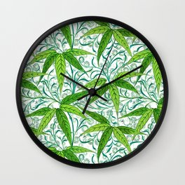 William Morris Bamboo Print, Green and White Wall Clock