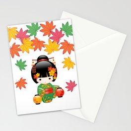 Japanese Fall Kokeshi Doll Stationery Cards