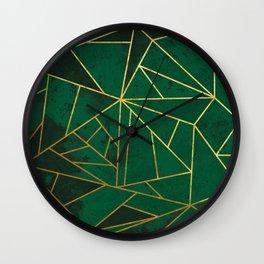 Emerald Green Geometric Gold Lines Wall Clock