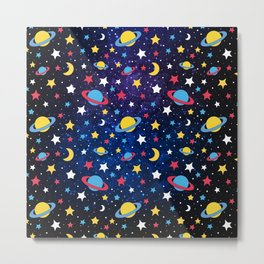 Colourful Stars and Planets Pattern Metal Print