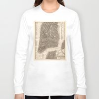 new york map Long Sleeve T-shirts featuring New York Map by Le petit Archiviste