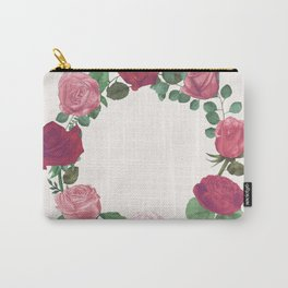 Pink Floral Wreath Carry-All Pouch