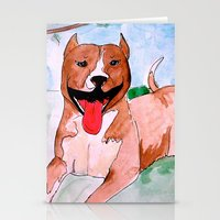 pit bull Stationery Cards featuring Pit Bull by Caballos of Colour