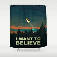 i want to believe Shower Curtains featuring I want to believe by mangulica