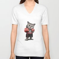 boxing V-neck T-shirts featuring BOXING CAT by ADAMLAWLESS