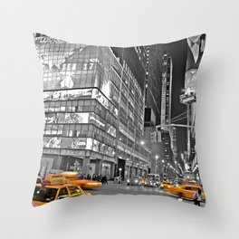 NYC - Yellow Cabs - CityLight Throw Pillow