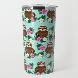 Sloth and Hibiscus Travel Mug