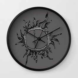 Liquid Sun on Grey Wall Clock