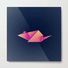 Paper folded, neon origami pink mouse or rat design Metal Print