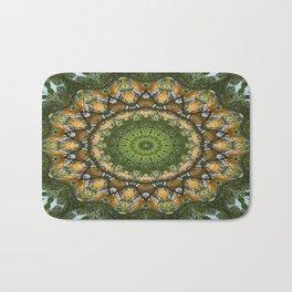 Yellow Tree Flower Kaleidoscope Art 3 Bath Mat