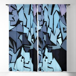 Jagged Blue Blackout Curtain
