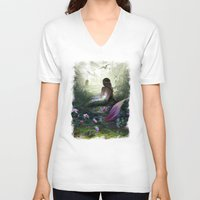 mythology V-neck T-shirts featuring Little mermaid by milyKnight