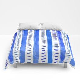 Watercolor lines - blue Comforters