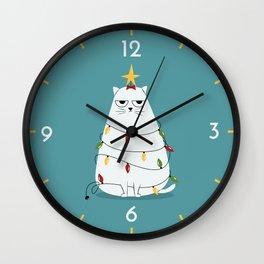 Grumpy Christmas Cat Wall Clock