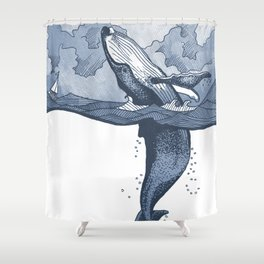 Hump Back Whale breaching in Stormy Seas with tiny boat - nautical themed illustration Shower Curtain