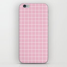 Cameo pink - pink color - White Lines Grid Pattern iPhone Skin