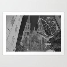 Atlas Statue Black and White Art Print
