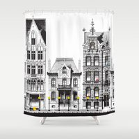 pac man Shower Curtains featuring Pac-Man City by Ryan Huddle House of H