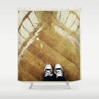 converse Shower Curtains featuring rainy day converse by winnie patterson