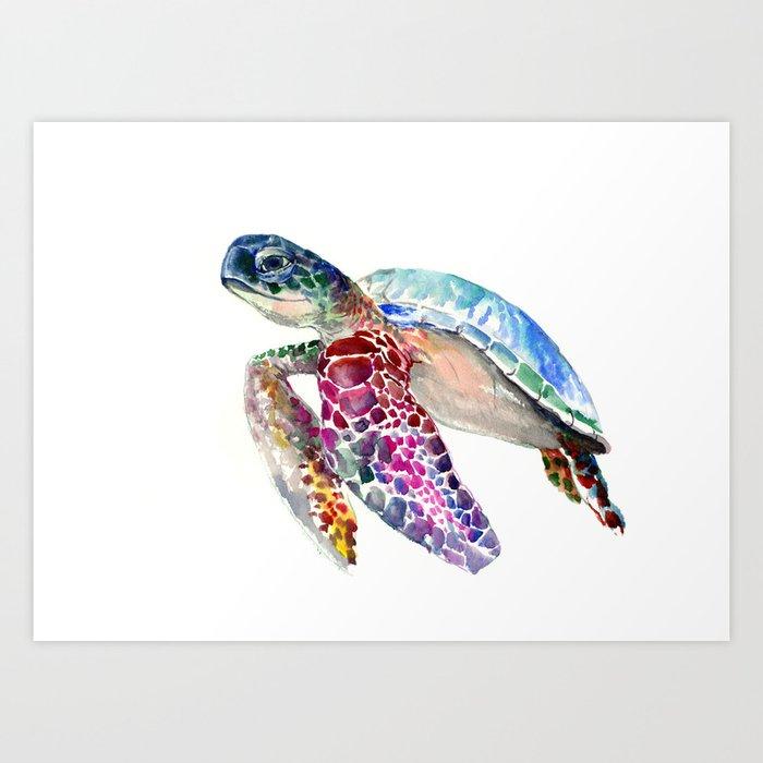 Sea Turtle Swimming Turtle Art Purple Blue Design Animal Art Art