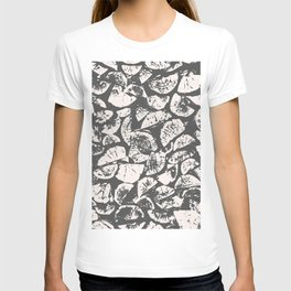 abstract pattern, Firewood texture, tree cut, gray and beige grunge wood background T-shirt