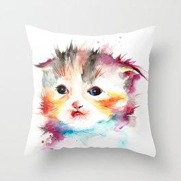 Happy Cat Watercolor Throw Pillow