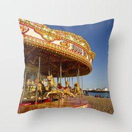 Golden Carousel at the Beach Throw Pillow