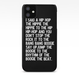 Rappers Delight Hip Hop in black Lyric Music Art Print Poster iPhone Case