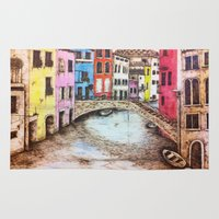 venice Area & Throw Rugs featuring Venice by Red, the artist