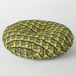 Interweaving square tile made of yellow rhombuses with dark gaps. Floor Pillow
