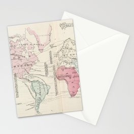 Vintage Agricultural Map of The World (1865) Stationery Cards